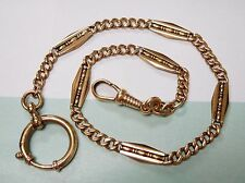 ANTIQUE GOLD FILLED FANCY CURB LINK POCKET WATCH FOB CHAIN #198L