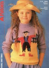 """PATONS DOUBLE Knitting Pattern C 3509 Scarecrow Pictured JUMPER 22-30"""" 56-76cm"""