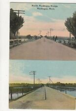 North Muskegon Bridge Mich Vintage Multiview USA Postcard 510a