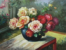 """Hadly Floral Hand Painted 12""""x16"""" Oil Painting Floral Canvas Art"""