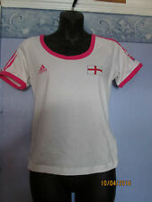 ADIDAS WHITE WITH PINK TRIM ENGLAND T-SHIRT SIZE M BNWT FREE P+P