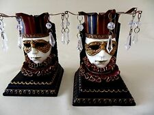 Venetian Masks Jesters Bookends  Resin & Metal With Acrylic Tears Burgundy Gold