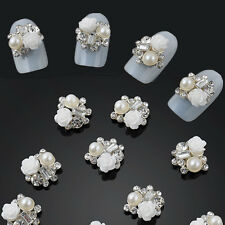 10pcs Nail Art Alloy 3D Rose Flowes Crystal Rhinestone Pearl Decorations new
