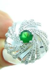 Fashion Women 925 Sterling Silver Jewelry Authentic Emerald Ring Size 9 R2322