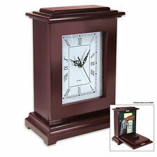 Wood Mantle Tall Security Concealment Quartz Clock Safe with Hidden Compartment
