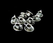 10 Pcs -  12mm Tibetan Silver Tea Cup and Saucer Charms Jewellery Crafts  P10