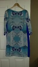 Blue shift dress with back zip detail M&S Size 14