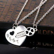 Chic 2PCS Letter Best Friend Heart Key Silver Pendant Couple Friendship Necklace