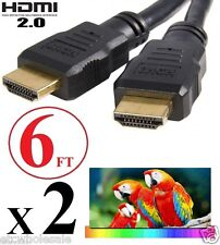 2X HDMI 2.0 High Speed CABLE 6FT For TV Box Apple TV Roku Nexus Streaming Player