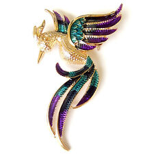 Phoenix Flying Bird Peacock Peafowl Blue Green Gold Enamel Vintage Brooch Pin a