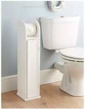 FREE STANDING WOODEN BATHROOM TOILET PAPER ROLL HOLDER CABINET STORAGE WHITE