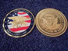 US Navy SEAL Team Coin with Flag and 24kt Gold Insignia Shipped w/ Capsule.