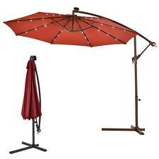 10' Hanging Solar LED Umbrella Patio Sun Shade Offset Market W/Base Burgundy