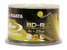 50 RIDATA 4X BluRay LTH Blank BD-R 25GB White Inkjet Hub Printable Media Disc