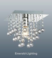 PALAZZO 1 BULB SQUARE FLUSH FITTING CEILING LIGHT CRYSTAL CLEAR DROPLETS CHROME