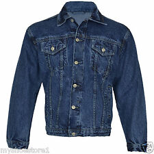 Mens Causal Classic Denim Jeans Jacket Tough Heavy Duty Work Wear Trucker Coat