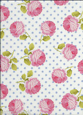 TEA ROOM ROSY DOTS Fabric in Wedgewood for Michael Miller - price per 1/2 yard