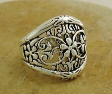 EXOTIC .925 STERLING SILVER WIDE FILIGREE FLORAL RING size 8  style# r2084