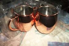 2 Moscow Mule Hammered 100% Pure Solid Copper Drinking Mug Set 16 oz Cup Brass