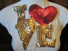 "8 1/2"" **I LOVE YOU (HEART)** Applique **SEQUIN - EASY IRON ON**"