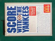 BASEBALL CARD SCORE WITH THE YANKEES MCDONALDS 100TH ANNIVERSARY INSTANT WIN GAM