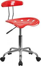 Vibrant Cherry Tomato & Chrome Computer Task Chair w/Tractor Seat Chair NEW
