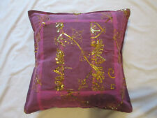 """Indian Sari Patchwork Sequin Embroidered Cotton Cushion Cover Pink Gold 16"""""""