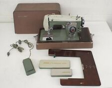 Vintage 1960 Janome Heavy Duty Avocado Green Metal Sewing Machine +Case & Extras