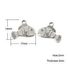 Packet of 10 x Antique Silver Tibetan 14mm Charms Pendants (Fish) ZX01825