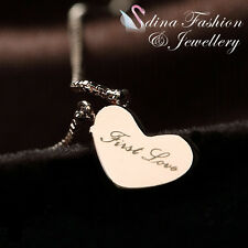18K Rose Gold Plated Word  First Love Cute Heart Necklace Jewellery