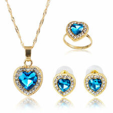 Blue Heart-shaped Zircon Rhinestone Pendant Necklace Earring Ring Jewelry Set