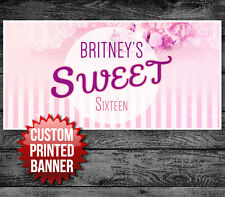 Sweet Sixteen 16 Pink Striped Custom Personalized Birthday Party Banner
