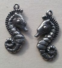 2 - Sea Horse Ocean Water Bony Fish Spiny Charms '3D' Silver Earrings - Jewelry