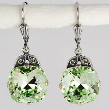 Ohrringe Ohrhänger Silber Altsilber Swarovski Kristall Rund Chrysolite grün