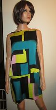 NWT Milly 6 Silk Blouson Shift Dress Sleeveless Colorblock Black Blue Pink Block