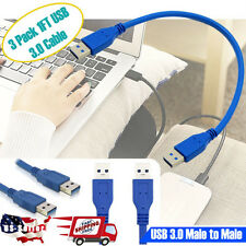 3 Pack USB 3.0 Extension Extender Cable Cord Standard Type A Male to Male 1 FT