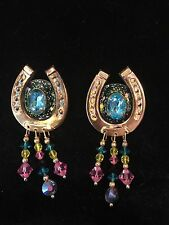 "VINTAGE LUNCH AT THE RITZ HORSESHOE DANGLE EARRINGS, SIGNED ""LATR'870"", no card"