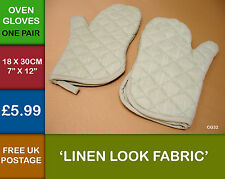 ONE PAIR Kitchen Plain Linen Look Quilted Oven Glove Mitt  Mittens Lt Green CG32