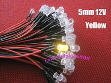 10pcs, 5mm Yellow Round 9V 12V DC Pre-Wired Water Clear Bright LED Leds 20CM New