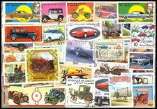 CARS On Stamps-50 Different Large world Wide Mixed Thematic Mostly Used Stamp
