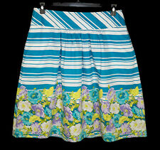NEW Talbots 12 Striped & Floral Border Print A-line Skirt Cotton NWT