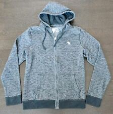 New Abercrombie & Fitch Mens Dark Gray Full Zip Textured Icon Hoodie Size XL