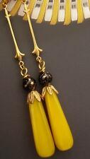 ART DECO/AT NOUVEAU BLACK AND YELLOW LONG DROP EARRINGS RETRO