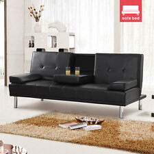 New Stunning of 3 Seater Sofa Bed Black Leather with Chrome Metal Legs