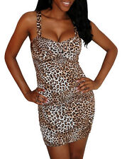 Fabuloso marrón Animal Leopard Print Corto Mini Vestido Fiesta O Club Wear UK 8-10