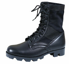 GI Style Military Jungle Boot - Canvas & Nylon W/ Leather Toe & Heel - Black, OD