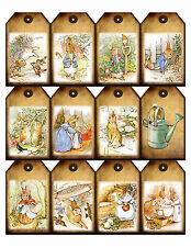 Beatrix Potter Peter Rabbit gift tags x 12 - baby shower, birthday party, Easter
