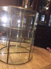 HOLLYWOOD REGENCY VTG Brass Glass Display Case Curio Cabinet Large Wall Table