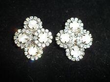 Clip On Vintage Antique Cluster Earrings Rhinestone Crystal Statement Shiny CHIC