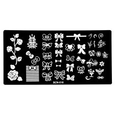 Multi-style Bow Flower Vine Nails Design Stamping Template Nail Art Plate BCN16